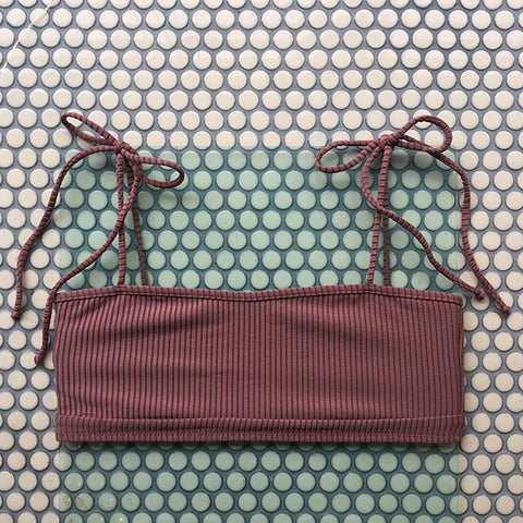 Made By Dawn: Arrow Bikini Top - Mauve Rib