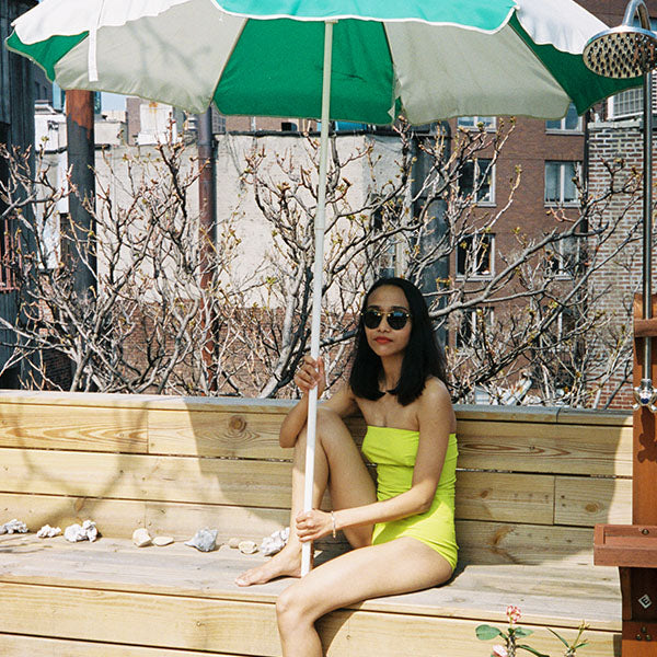 Jean Yu: Strapless 1 Piece - Chartreuse
