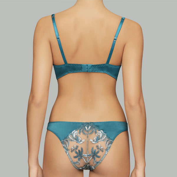 Coco de Mer: Lovers Palm Plunge Bra - Teal