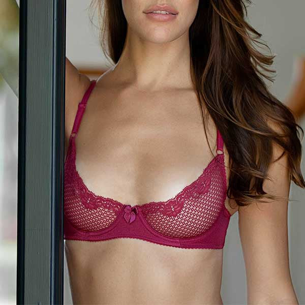 Duet By Timpa: Lace Demi Bra - Wine