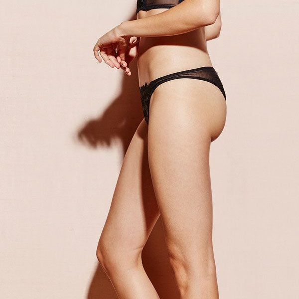 Fleur du Mal: Lily Embroidery Lace Cheeky Panty - Black