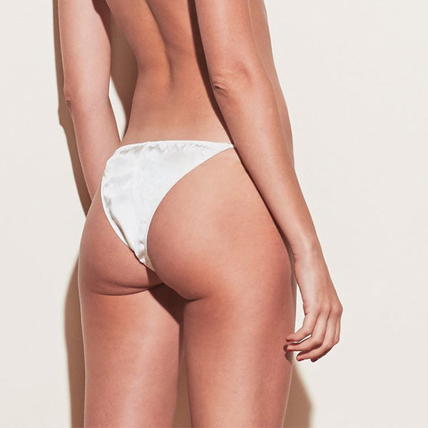 Fleur du Mal: Silk Satin Luxe Cheeky Brief - Ivory