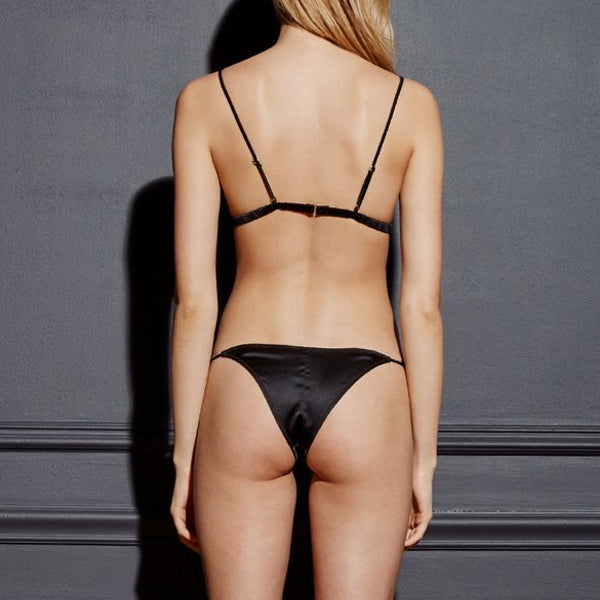 Fleur du Mal: Silk Satin Luxe Cheeky Brief - Black