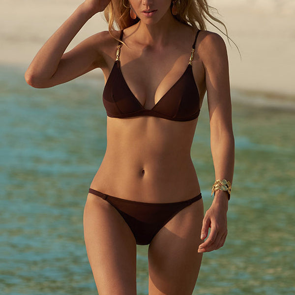 Melissa Odabash: Mexico Triangle Bikini Top - Walnut