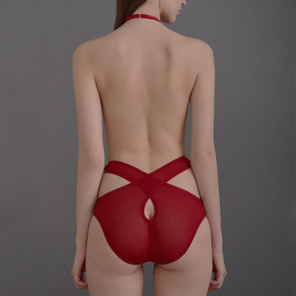 Marika Vera: Pia High-Waisted Brief with Harness - Red