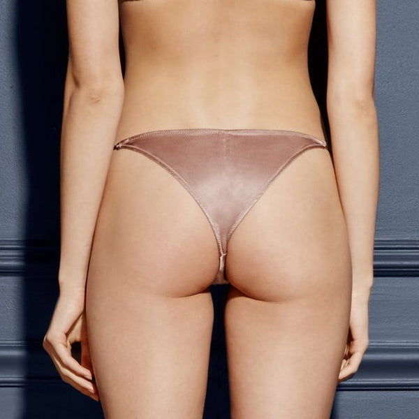 Fleur Du Mal: Silk Satin Luxe Cheeky Brief - Tan