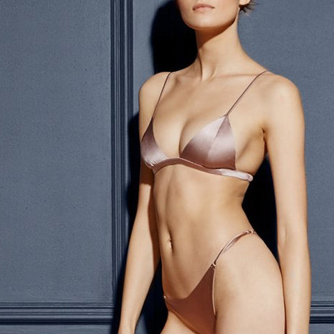 Fleur Du Mal: Stretch Satin Luxe Wireless Triangle Bra - Tan