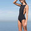 Haight: Side Slit 1 Piece Maillot - Black