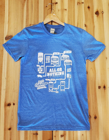 Blue AON Tee Shirt - Brewhouse Logo - All or Nothing Brewhouse