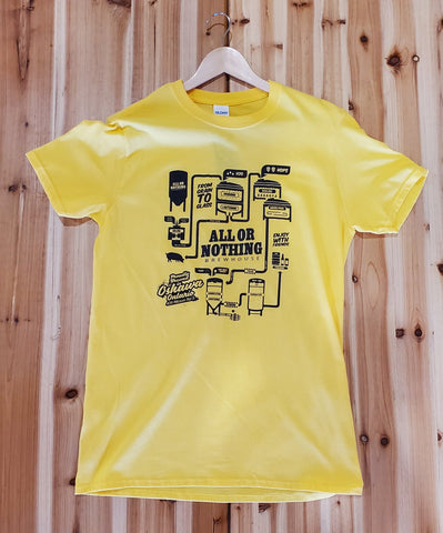 Yellow AON Tee Shirt - Brewhouse Logo - All or Nothing Brewhouse