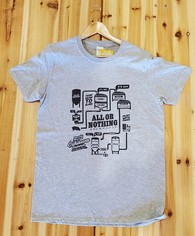 Light Gray AON Tee Shirt - Brewhouse Logo - All or Nothing Brewhouse