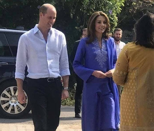 The Duchess of Cambridge Kate Middleton looked stunning in bright blue for the first day of her royal tour of Pakistan with Prince William on Tuesday (15 October) morning.