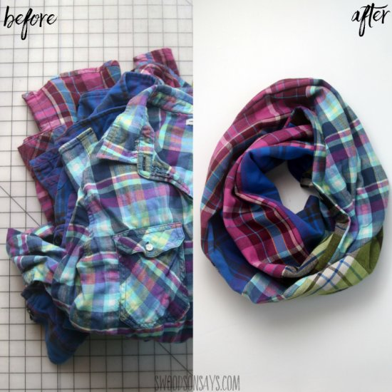 Upcycled flannel scarf