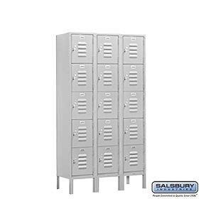 Online shopping salsbury industries assembled 5 tier box style standard metal locker with three wide storage units 5 feet high by 15 inch deep gray