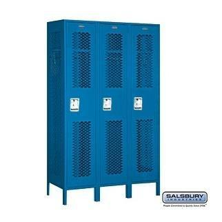 Heavy duty salsbury industries assembled 1 tier extra wide vented metal locker with three wide storage units 6 feet high by 15 inch deep blue