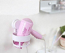Load image into Gallery viewer, On amazon eluugie hair dryer wall mounted lock suction cup hair dryer holder hair drier storage organizer hair blower holder whtie white