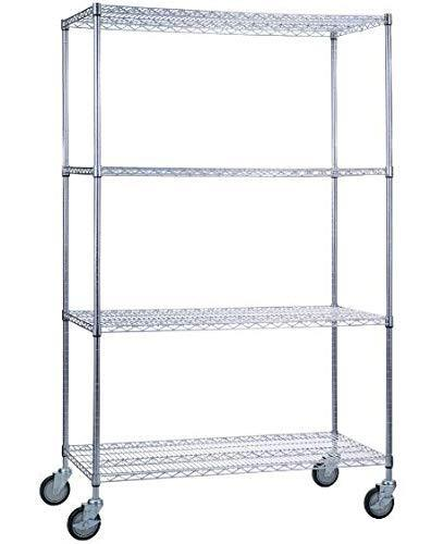 Shop here saferacks nsf certified commercial grade adjustable 4 tier steel wire shelving rack with 4 wheels 18 x 48 x 72 18x48x72 4 tier