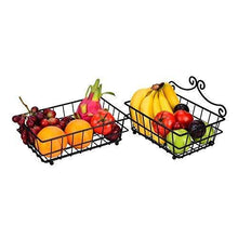 Load image into Gallery viewer, Select nice linkfu 2 tier fruit bread basket removable screwless metal storage basket rack for snack bread fruit vegetables counter table kitchen and home black