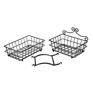 Selection linkfu 2 tier fruit bread basket removable screwless metal storage basket rack for snack bread fruit vegetables counter table kitchen and home black