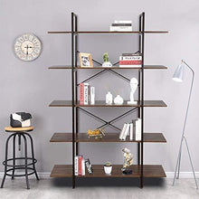 Load image into Gallery viewer, Results cocoarm 5 tier vintage industrial rustic bookshelf wall mountable bookcase in wood and metal ladder shelf for living room or office organizer storage bookshelf