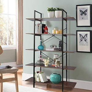 Online shopping cocoarm 5 tier vintage industrial rustic bookshelf wall mountable bookcase in wood and metal ladder shelf for living room or office organizer storage bookshelf