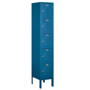 Organize with salsbury industries assembled 5 tier box style standard metal locker with one wide storage unit 5 feet high by 12 inch deep blue