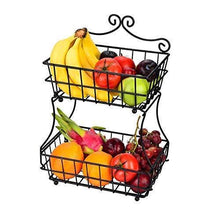 Load image into Gallery viewer, Save on linkfu 2 tier fruit bread basket removable screwless metal storage basket rack for snack bread fruit vegetables counter table kitchen and home black