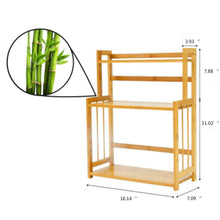 Load image into Gallery viewer, Budget friendly 3 tier spice rack kitchen bathroom countertop storage organizer rack bamboo spice bottle jars rack holder with adjustable shelf 100 natrual bamboo