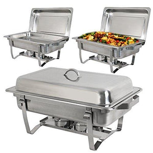 Amazon best super deal 8 qt stainless steel 4 pack full size chafer dish w water pan food pan fuel holder and lid for buffet weddings parties banquets catering events 6