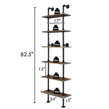 Load image into Gallery viewer, Selection giantex 6 tier industrial pipe shelves with wood rustic wall shelves vintage pipe wall shelf for bedrooms kitchens coffee shops or bar storage pickles wood grain