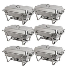 Load image into Gallery viewer, The best super deal 8 qt stainless steel 4 pack full size chafer dish w water pan food pan fuel holder and lid for buffet weddings parties banquets catering events 6