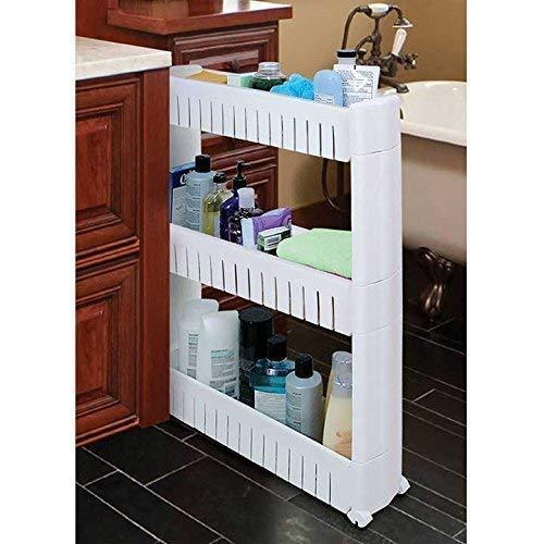 Best seller  slim storage food cleaning supplies pantry cabinet organizer slide out cart rack with wheels for narrow spaces in kitchen garage laundry apartments bathroom closets 3 tier