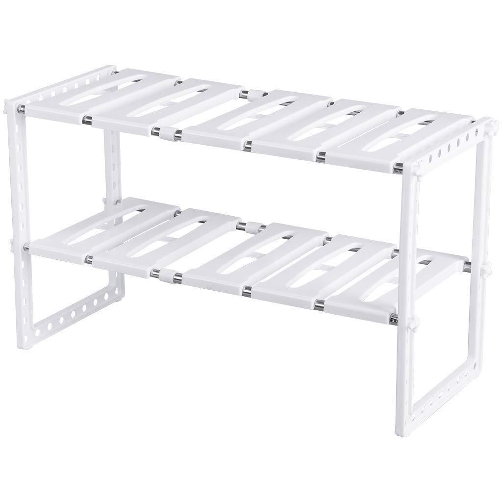 Latest under sink organizer 2 tier expandable kitchen bathroom pantry storage shelf multi functional adjustable under kitchen sink organization storage rack heavy duty white