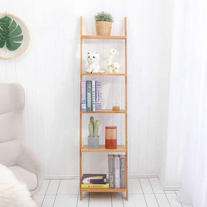 Selection exilot natural bamboo ladder shelf 5 tier wall leaning bookshelf ladder bookcase storage display shelves for living room kitchen office multi functional plant flower stand shelf