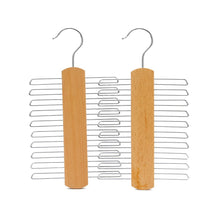 Load image into Gallery viewer, JS HANGER Multifunctional Accessories Hangers for Ties and Belts Natural Beech Wood Close End Teeth Anti-slip Hold up to 20 pcs (2-Pack)