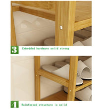 Load image into Gallery viewer, Discover the dulplay bamboo shoe rack 100 solid wood function assemble entryway shelf stand shelves stackable entryway bedroom 3 10 tier 6 40 shoes b 79x25x155cm31x10x61inch