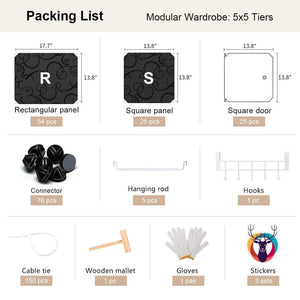 Buy now george danis portable wardrobe closet plastic dresser modular cube organizer multi use storage carbinet shelf diy furniture black 18 inches depth 5x5 tiers