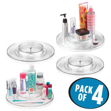 Load image into Gallery viewer, Try mdesign spinning 2 tier lazy susan turntable storage tray rotating organizer for bathroom vanity counter tops dressing tables makeup stations dressers 11 5 round 4 pack clear