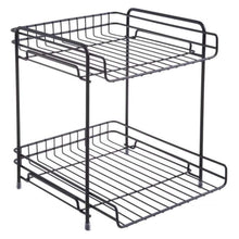 Load image into Gallery viewer, Storage aiyoo 2 tier black metal bathroom standing storage organizer countertop kitchen condiment shelf rack for spice cans jars bottle shelf holder rack