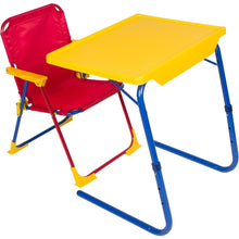 Load image into Gallery viewer, Amazon best table mate 4 kids folding desk and chair set for eating art activities for toddlers and children with portable carry case red blue yellow