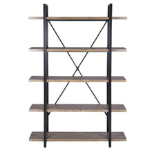 Load image into Gallery viewer, Top rated framodo 5 shelf open vintage industrial bookshelf rustic wood and metal 5 tier bookcase for home office organizer and display shelves