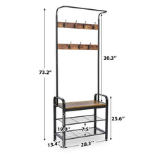 Load image into Gallery viewer, Try kingso industrial coat rack hall tree entryway coat shoe rack 3 tier shoe bench 7 hooks wood look accent furniture with stable metal frame easy assembly