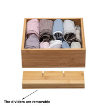 Load image into Gallery viewer, Discover the gobam tie and belt organizer box closet underwear storage box drawer divider for bras briefs socks and mens accessories compartments of 12 natural bamboo