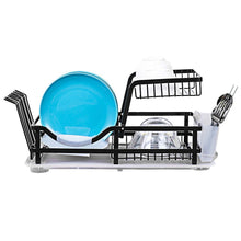 Load image into Gallery viewer, Save on 2 tier dish rack dish drying rack with utensil holder and drain board wine glass holder easy storage rustproof kitchen counter dish drainer rack organizer iron