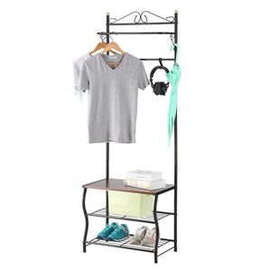 New langria entryway coat rack metal standing hall tree with 2 tier grid wire shoe rack wooden bench and hat umbrella holder features 5 hooks black