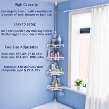 Load image into Gallery viewer, Select nice baoyouni bathroom shower storage corner caddy tension pole 4 tier bathtub caddies shelf rod organizer rack with towel bar extra large trays ivory