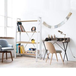 Related dporticus 2 set 4 tier modern ladder bookshelf free standing open bookcase storage shelf units display stand oak white 31 4 l x13 w x52 5 h