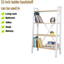 Load image into Gallery viewer, Results dporticus 2 set 4 tier modern ladder bookshelf free standing open bookcase storage shelf units display stand oak white 31 4 l x13 w x52 5 h