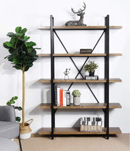 Load image into Gallery viewer, Try framodo 5 shelf open vintage industrial bookshelf rustic wood and metal 5 tier bookcase for home office organizer and display shelves