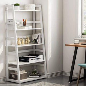 Shop here tribesigns 5 tier bookshelf modern bookcase freestanding leaning ladder shelf ample storage space for cd books home decor white